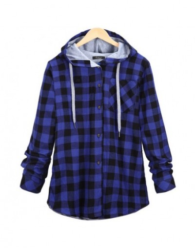 Winter Casual Women Hoodies Femme Cotton Plaid Hooded Bts Streetwear Long Sleeve Harajuku Sweatshirt Plus Size 5XL - Blue - ...