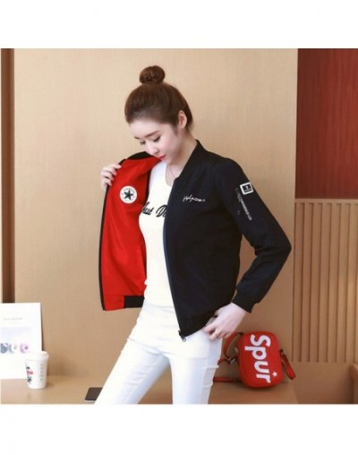 Spring and Autumn women's jacket baseball uniform coats Korean version of the double-sided wearable baseball uniform jacket ...