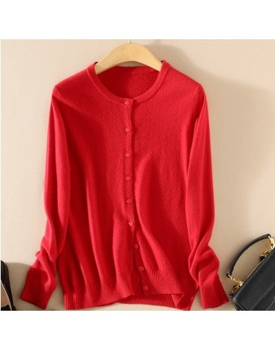 New fashion knitted Cashmere Sweater Women knit 2018 Sweaters Ladies CardigansCardigan plus size Coat - Red - 463904221720-10