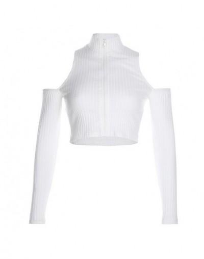 Off Shoulder Women T Shirt Femme Fall Long Sleeve Bodycon Zipper Turtleneck Ribbed Cropped Top Tee Korea Basic T-Shirts - Wh...