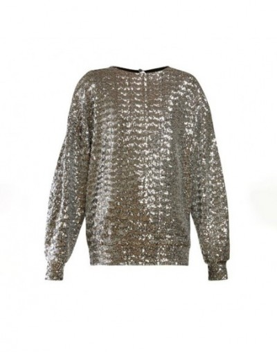 Summer Sequined Patchwork Women Sweatshirt O Neck Long Sleeve Big Size Tops Female Fashion Clothes 2019 Casual - Silver - 4J...