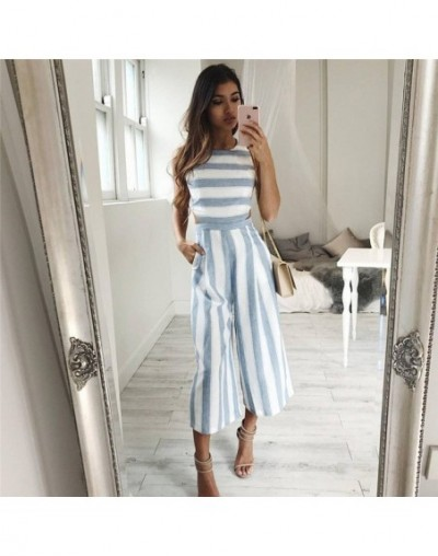 Summer Rompers Women's Jumpsuit Sexy Casual Sleeveless Elegant Striped Wide Leg Pants Playsuits Overalls Trousers Plus Size ...