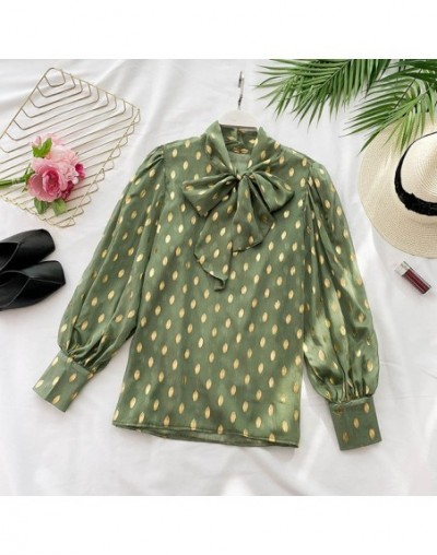Vintage Bow Collar Full Sleeve Women Blouse Shirts See Through Polka Dot Loose Female Blouses Tops 2019 Spring Shirts blusas...