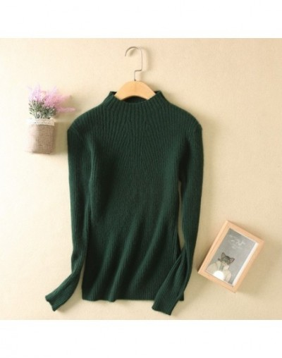 2017 New Autumn And Winter Sweaters Women Turtleneck Slim Sweater Semi-high Collar Cashmere Sweater Solid Color - Green - 4R...