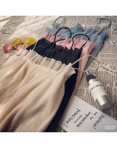 Summer Girls Ruffled Slash Neck Pleated Chiffon Solid Camis Tops Sleeveless Shirts Women Spaghetti Straps Camisoles Tanks To...