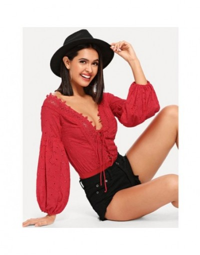 Sexy Long Sleeve jumpsuit Lace Trim Plunge Neck Eyelet Embroidered Bodysuit - Red - 2K1111111477699-2