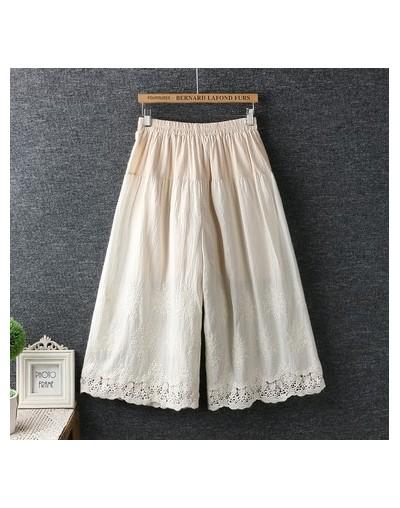 2019 summer Vintage cotton embroidery flowers Wide leg pants Female lolita sweet - beige - 453009332253-1