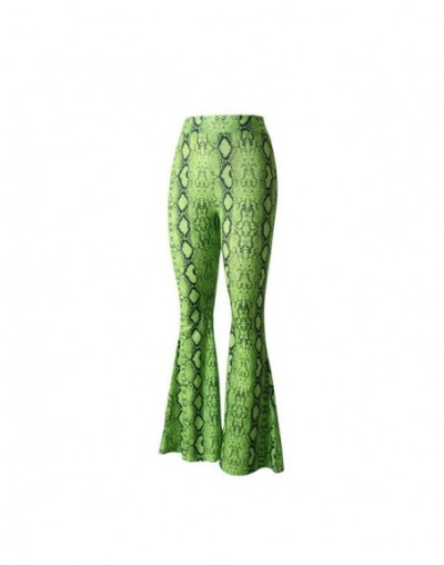 Women Neon Snake Skin Print Wide Leg Pants Sexy Party Club Flare Pants Casual Elastic Waist Trousers - Fluorescent Green - 4...