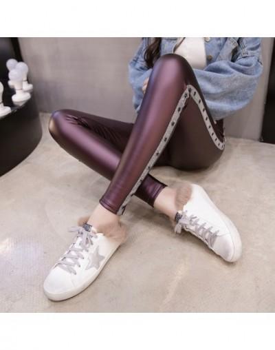women pants 2019 shirts PU leather pants Skinny Elastic Waist Pattern Solid High Flat Pencil Pants pants women 2109 50 - Pur...