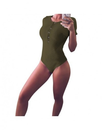 2019 New Fashion Women's Bodysuit Casual Leotard Blouse Short Sleeve Tank Stretch Jumpsuit Romper Top - Army Green - 4741162...