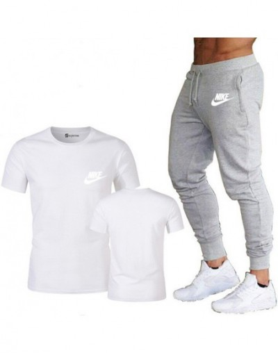 Summer new ladies T-shirt + pants two-piece casual sports ladies gym fitness trousers 2019 ladies classic brand - White grey...