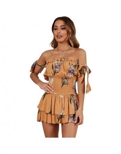 Women Chiffon Short Jumpsuit Off Shoulder Bow Sleeve Summer Jumpsuits Floral Print Boho Beach Playsuit Fashion Rompers - Ora...