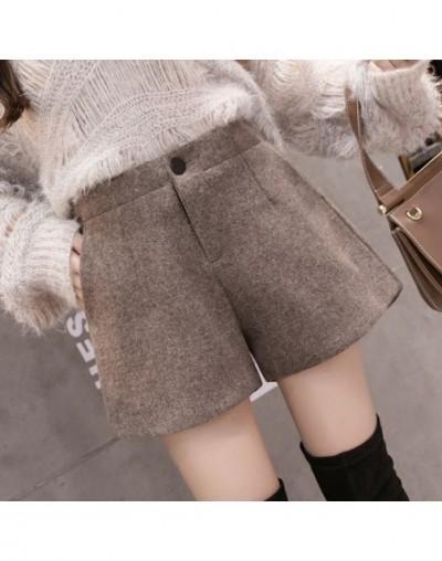 2019 Autumn Winter Woolen Shorts Womens Casual Elastic Waist Wool Shorts Female Solid Color Boots Shorts - Khaki - 493064771...