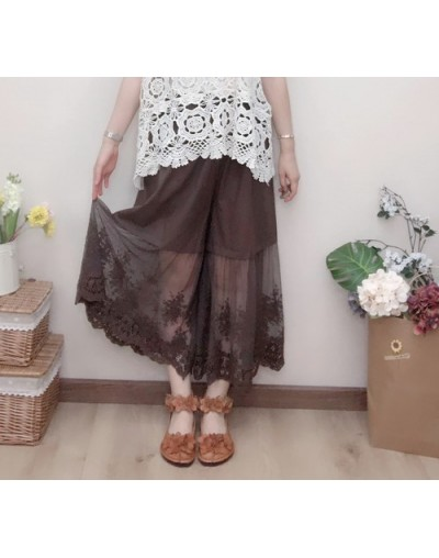 Japan Mori Girl Pure Cotton Lace Embroidery Retro Leggings Loose Elastic Waist Wide Legged High Waist Leggings Women Pettico...