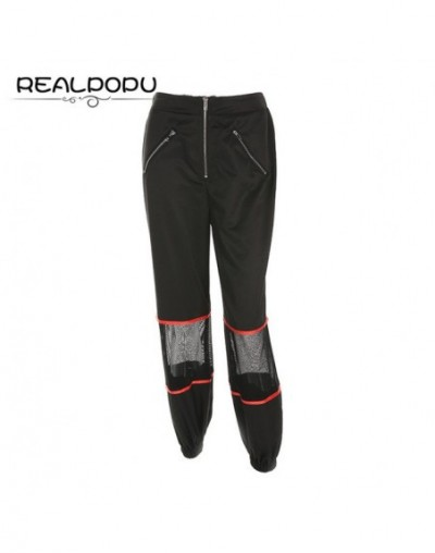 Zipper Split Elastic High Waist Long Pants Patchwork Hollow Out Loose Harem Pants Casual Fashion Trousers Sexy pantalon - Bl...