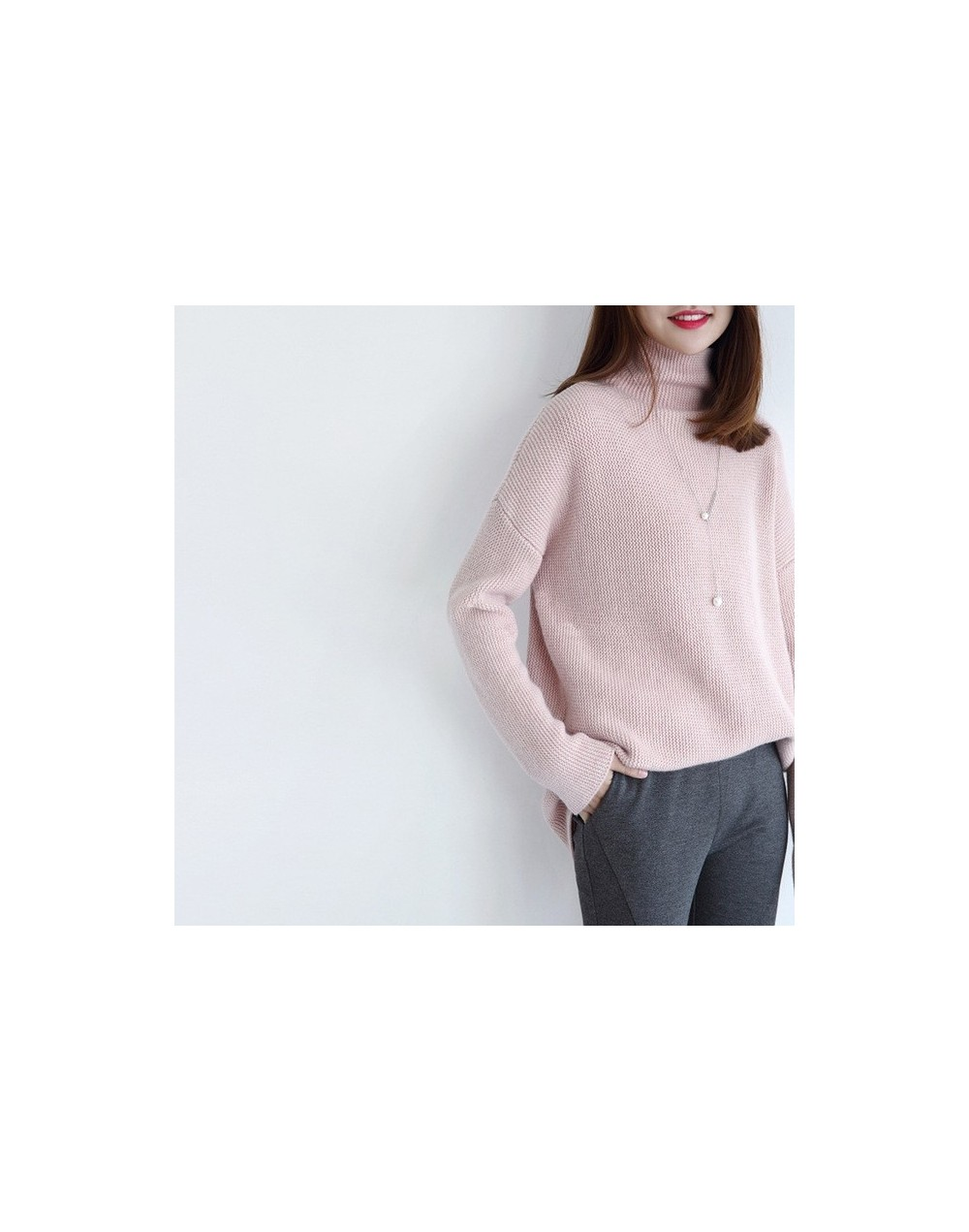 2017 Autumn and Winter New High-Necked Cashmere Sweater Woman Loose Thick Pullover Wild casual Knitted Sweater - Pink - 4J39...