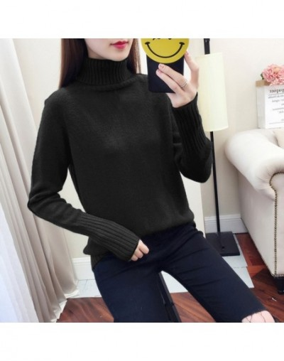 Turtleneck Sweater Women Knitted Pullover Female 2019 New Autumn and Winter Cashmere Sweaters Tops Pull Femme - Black - 4430...