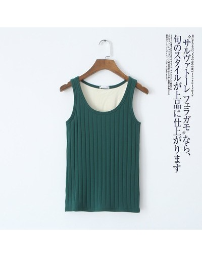 Double Layer Thick Warm Vest With Velvet Women Winter Tank Top Cotton Striped Autumn Undershirt Casual Sleeveless Tee Top Sh...