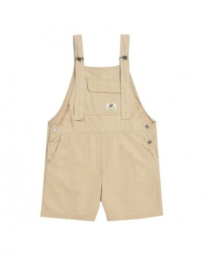 Casual Women Summer Overalls Denim Casual Khaki Short Rompers Loose Solid Strapless Paysuits Rubik's Cube Patch - Khaki - 42...
