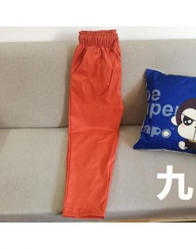 Plus Size M-7XL Fashion Women Nine Points Pants Cotton linen New Casual Bundling Wide Waist Belt Candy Color Pencil Pants Bl...