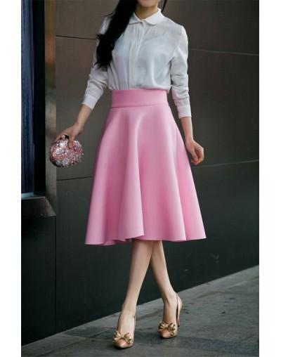 High Waist Pleat Elegant Skirt Green Black White Knee-Length Flared Skirts Fashion Women Faldas Saia 5XL Plus Size Ladies Ju...