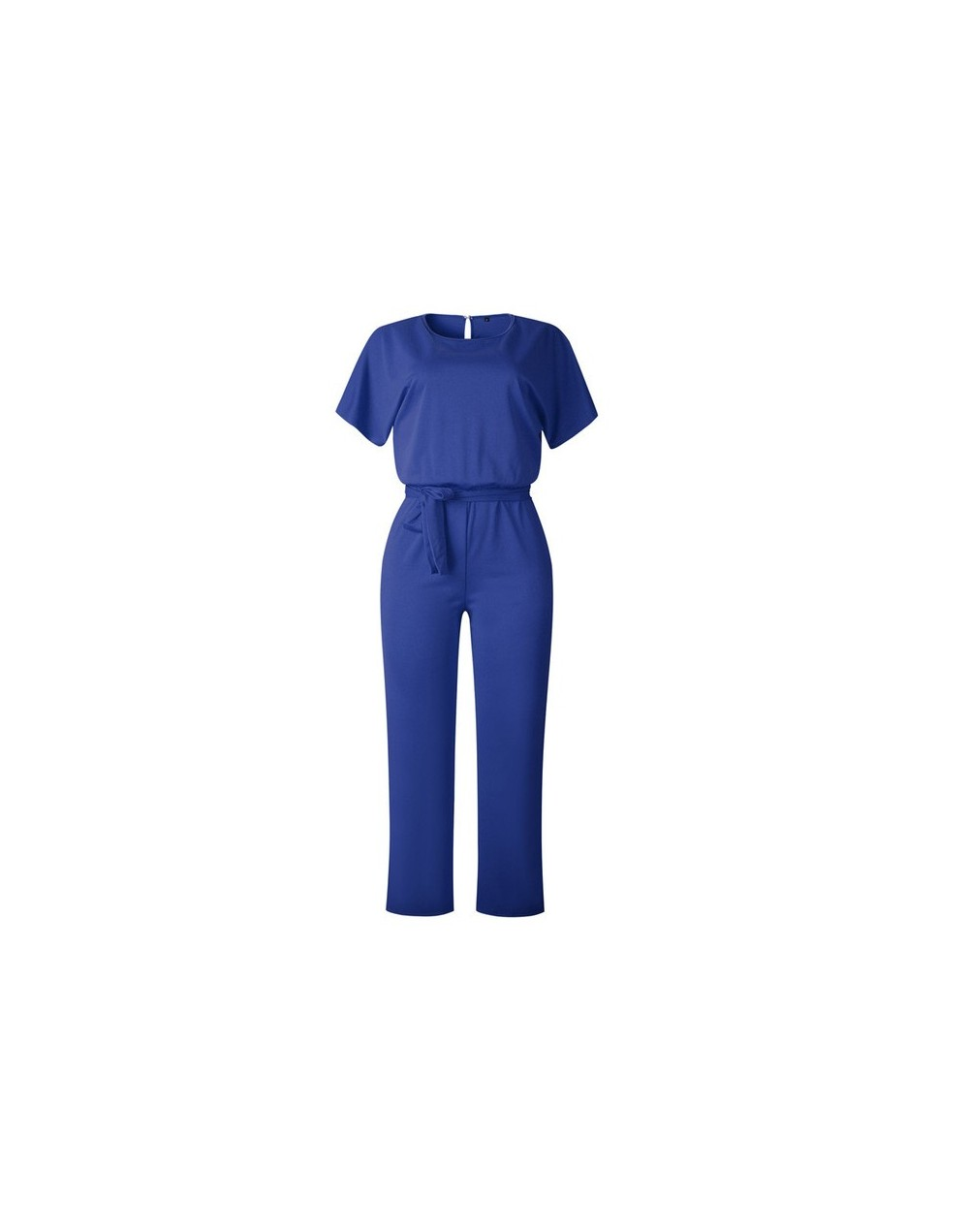 Summer Women Work Jumpsuits Casual O-Neck Sashes Loose Rompers Black Long Pants Female Streetwear Short Sleeve Jumpsuits - B...
