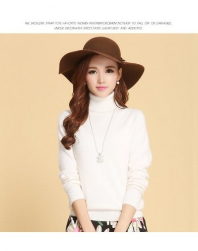 autumn winter cashmere sweater female pullover high collar turtleneck sweater women solid color lady basic sweater - white -...