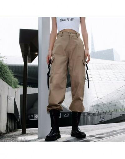 Womens Fashion Summer Casual High Waist Cargo Pants Hip Hop Dance Military Pockets Jogging Hiking Trousers - Khaki - 4E41381...