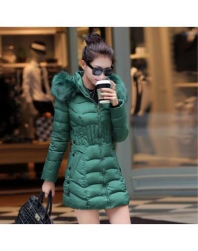 2017 New Arrival winter jacket women fashion thick keep warm cotton coat long sleeve Slim fur collar hooded woman parka MF00...