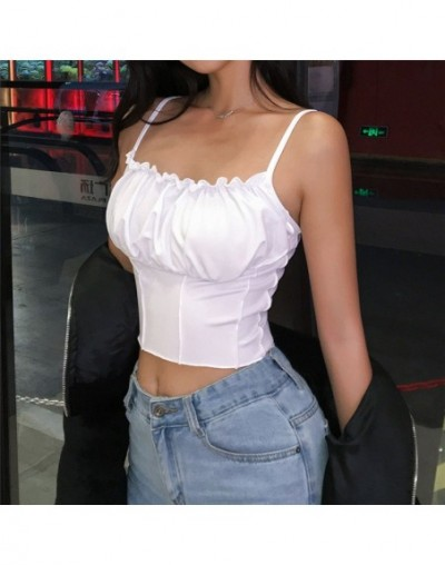 Sexy 2019 Summer Women Ruffles Tank Top Fashion Ladies Sleeveless Strapless Ruched Slim Crop Top Camisole Female Clothing Ta...