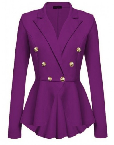Fashion Slim Fit Women Jackets Womens Ladies Office Jacket Elegant Female Solid Button Plus Size - purple - 453977732910-5