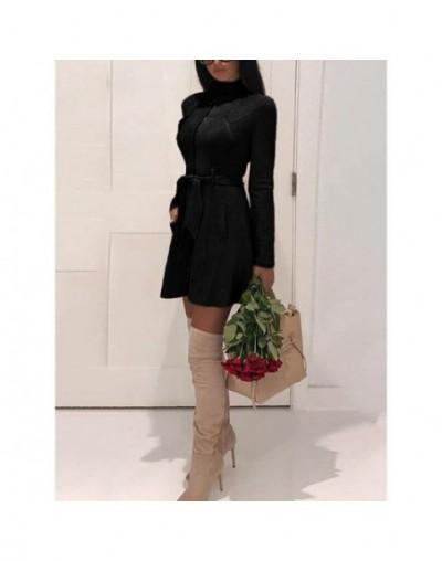 Plus Size Stand Collar Long Sleeve Women Faux Suede Dress Fashion Long Sleeve Zipper A-Line Dress Pockets Mini Dress - Black...