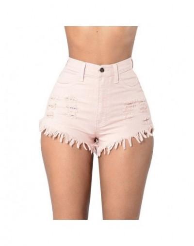 Denim Shorts Women Fashion Tassel Ripped High Waist Summer Short Jeans Sexy Booty Shorts Female Slim Shorts Trousers - Pink ...