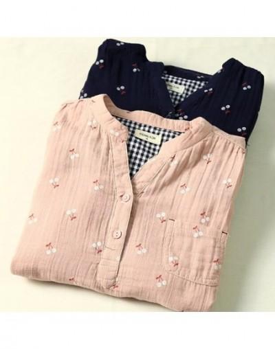 Sweet cherry cotton yarn soft skin-friendly breathable rustic fruit print long sleeve vintage shirt blouse - dark blue - 4Y3...