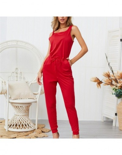 Sexy Simple Jumpsuits Suits Ankle-Length Pants Loose Solid Bodysuits 2019 Sleeveless Straps Cozy Breathable Jumpsuit - red -...