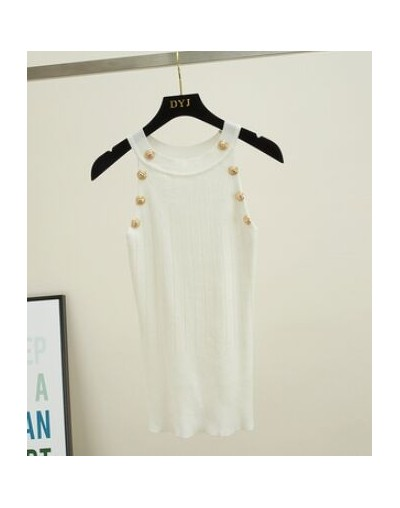 Women Soild Button Hollow Out Thin Knitted Tank Tops Female Girls Double Breasted Knit Sleeveless Sweater Tanks - White - 4M...