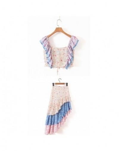 Two Piece Set Women Summer Suits Ruffles Square Neck Fancy Claudia Bikini Top Lisette Skirt Sets Ins Bloggers Style - Sets -...