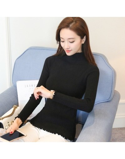 2019 Leisure loose Korean Half high collar Shirt female Spring autumn Solid color long sleeved sweater aa893 - Photo Color -...