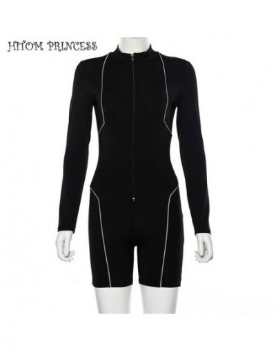 Black Skinny Sexy Playsuits Women 2019 Zipper High Collar Long Sleeve Reflective Striped Rompers Womens Jumpsuit - Black - 4...