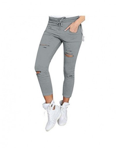 S-4XL Women New Cotton Pencil Pants Wild Leisure Trousers Women's Clothing Hole In Europe and America Popular Jeans - Gray -...