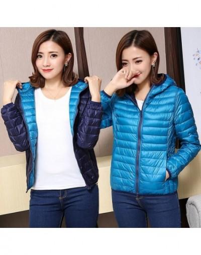 2019 Duck Ultra Light Down Jacket Women Winter Goose Feather Coat Thin Slim Warm Parka Hooded Outerwear Double Side Wear Okd...