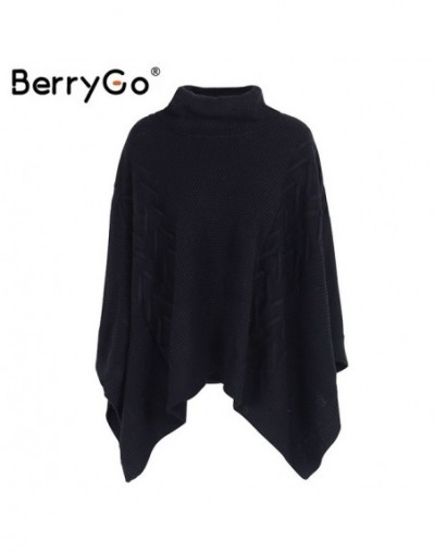 Casual knitted turtleneck sweater cape Women winter loose pullover poncho 2017 Casual streetwear warm black sweater tops - B...