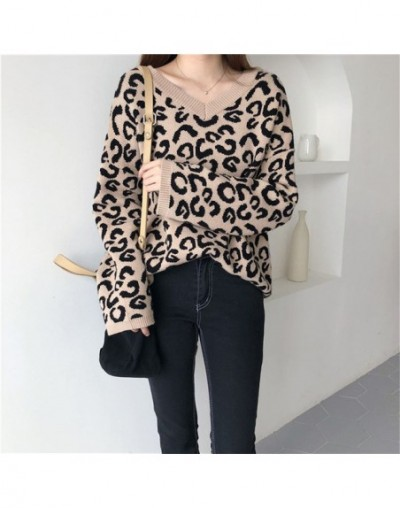 Fashion Sweater Women Winter Pullover Knitted Leopard Print Sweater Top V-Neck Autumn Sexy Female Sweaters - coffee - 4F3056...