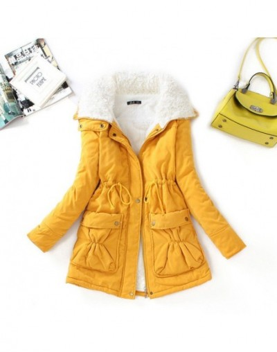 Winter Cotton Coat Women Slim Snow Outwear Medium Long Wadded Jacket Thick Cotton Padded Casual Sash Tie Up Parkas - yellow ...