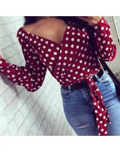 Chic Vintage Blouses Women Fashion 2019 Summer Office Sexy Lady Polka Dot Tops V-neck Long Sleeve Shirts Slashes Blusas GV39...