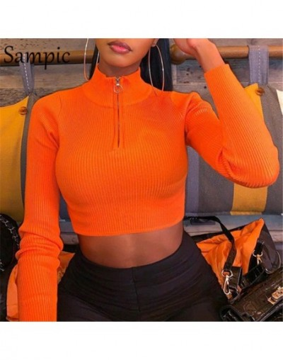 Turtleneck Long Sleeve Crop Top Women T Shirt Sexy Vogue Womens Black Shirt Casual Basic Pullover Autumn Short Top - Orange ...