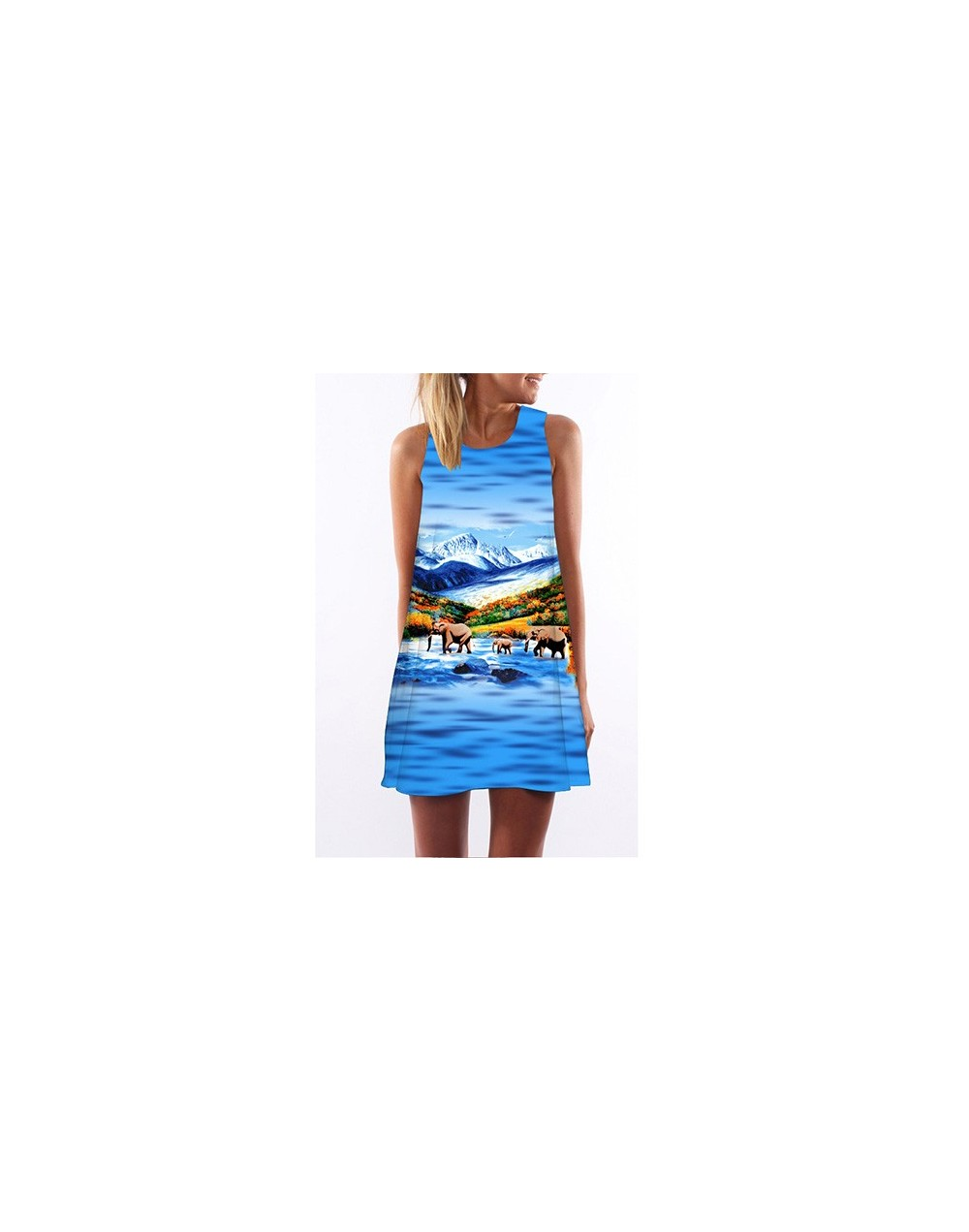 Vestidos 2018 New Fashion Dress Women Sleeveless Floral Print Dress Summer Style Casual Chiffon Dress Mini Shift Dress - pic...