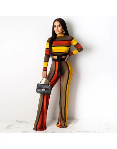 Sexy 2 Piece Neon Stripes Outfits for Women Festival Clothing O Neck Full Sleeve Tie Up Crop Tops + Straight Pants Sweat Sui...