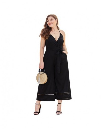 Women Jumpsuit Plus Size 2019 Summer V Neck Sleeveless Backless Sexy Jumpsuit Romper Black Pockets Wide Leg Female Playsuits...