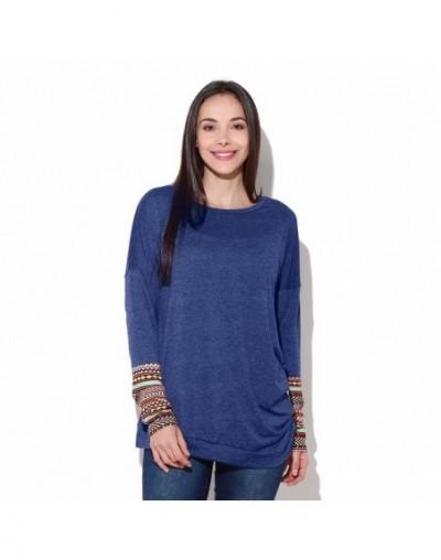 T-Shirts Women T Shirt Fashion Casual O-Neck Long Sleeve tshirt Patchwork Asymmetrical Tops Tees C1435 - Blue - 4Y3969846980-2
